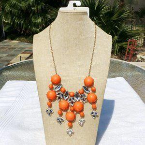 Long Elegant Orange Crystal Boho Necklace Goldtone